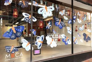 MECA Holiday Sale Window Display