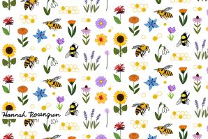 Bee & Flower Pattern